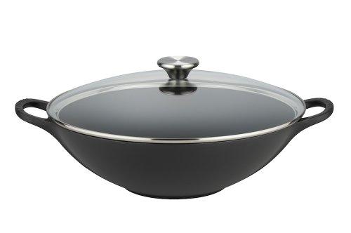 Le Creuset Gusseisen Wok, mit Glasdeckel, 32 cm, schwarz