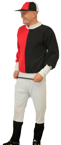 Jockey-Kostüm von Dragons Den Fancy Dress One size, elastische bis 111.76 cm Brust (Black N White Kostüme)