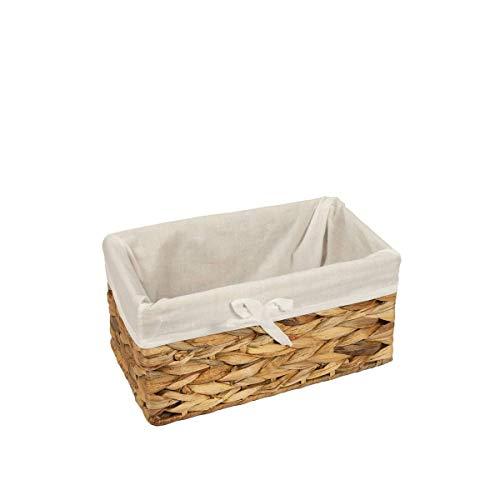 Woodluuv Top Shop Panier Papier WC pour Maison en rotin avec Doublure, Petit Format 27 x 17 x 10 cm