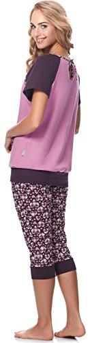 Be Mammy Damen Umstands Pyjama mit Stillfunktion BE20-190 Herzen-violett