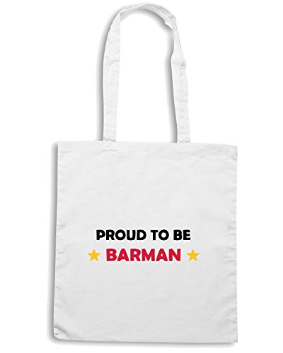 T-Shirtshock - Borsa Shopping BEER0271 Proud-to-be-barman-!-Magliette Bianco