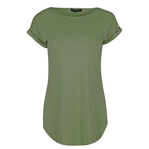 MRULIC Muttertag Geschenk Einfarbig T-Shirt Lässiger Gebügelter Saum Einfarbiger Rundhalsausschnitt Ärmelloses Top mit Flügelärmeln(Grün,EU-40/CN-S)