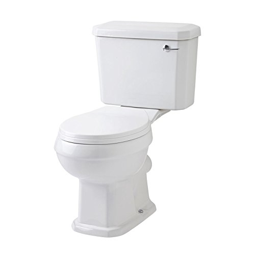 Mote Traditional White Bathroom WC Closed Coupled Toilet Pan and Cistern Chrome Plated Flush Handle With Standard Seat