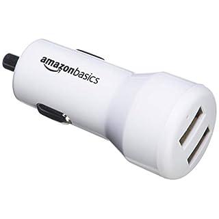 AmazonBasics - Kfz-Ladegerät für Apple- & Android-Geräte, USB-Anschluss: 2 Eingänge, 4,8Ampere / 24W, Weiß
