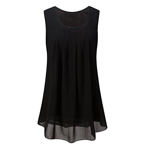 r Ärmellos O-Ausschnitt Casual Chiffon Solide Weste Bluse Tank Tops Camis Frauen T Shirt Tees (Black,EU-48/CN-XL) ()