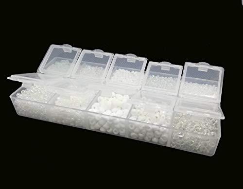 Rocailles - Juego de Perlas Blancas de 2 mm