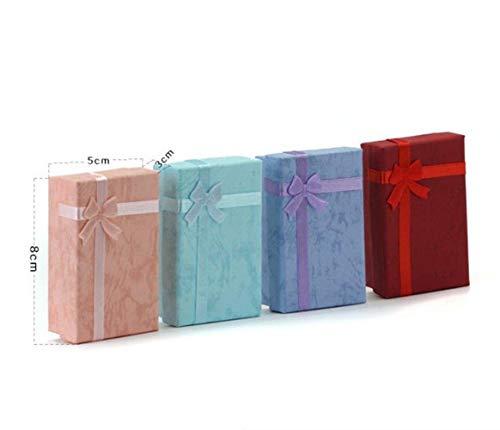 Depory 10 x Geschenk-Box Schmuckkästchen Papier rechteckig Schleife mit Deckel für Pralinen Schmuck kleine Geschenke 5 x 8 cm rosa -