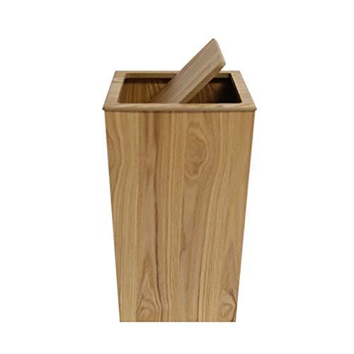 AIDELAI Mülleimer- Quadratischer Abfalleimer des Festen Holzes, Büro-Studienzimmer-Abfall-Papierkorb-Flickabfalleimer 23 * 23 * 40CM (Farbe : B, größe : 23 * 23 * 40CM) (Holz-küche-mülleimer)