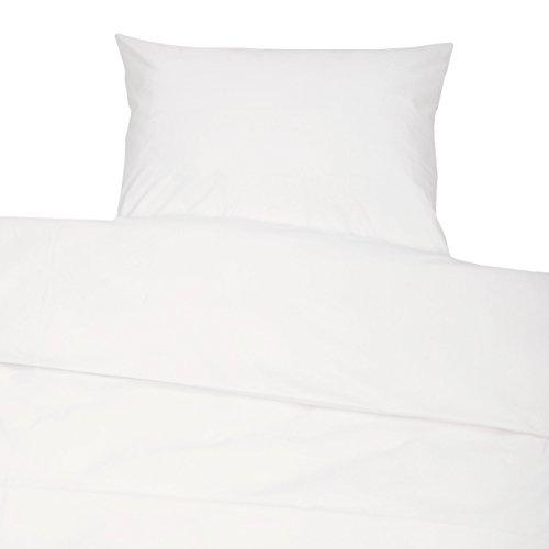 Zollner 2-TLG. Bettwäsche Garnitur aus Baumwolle, 80×80 cm + 140×200 cm oder 80×80 cm + 155×220 cm, Weiß, Hotelverschluss, 00000147