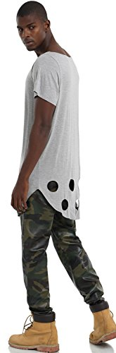 Pizoff Unisex Hip Hop Basic Langärmliges Langes Jersey Sweat T-Shirt Rund Saum P3133-Grey