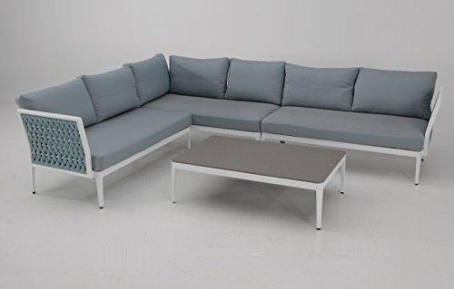 Sofa Rinconera terraza aluminio blanco cuerda azul BASEL