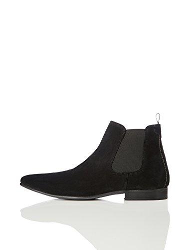 FIND Herren Chelsea Boots Rauleder, Schwarz (Black), 45 EU