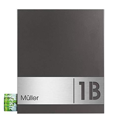 Briefkasten MOCAVI Box 111 mit Zeitungsfach, Hausnummer und Name V4A Edelstahl Schild anthrazit eisenglimmer DB 703
