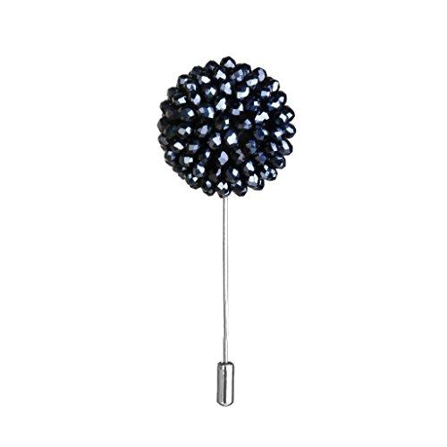 Handarbeit Kristall Perlen Blume Stick Brosche Tuxedo Corsage Für Männer Navy Blau -