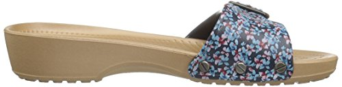 Crocs Sarah Graphic Navy/Gold, Sandali con Zeppa Donna Blu (Navy/Gold)