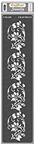 CrafTreat Floral Border Stencils for Painting Craft - Border 3-3X12 Inches - Reusable DIY Stencils for Border Wall Painting - Border Art Stencils for Album Making