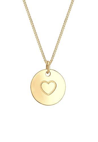 Elli Halskette Damen Herz Münze Love Geo Platte in 925 Sterling Silber