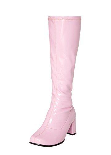 Kostüm Kniehohe Stiefel 60s 70s Retro Look GoGo-Stiefel - Rosa, 6