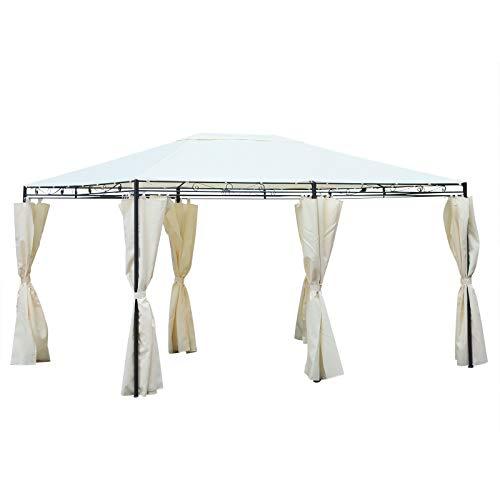 Outsunny Gartenpavillon Pavillon Festzelt Partyzelt wetterfest Zelt mit Seitenwänden Stahl + Polyester Cremeweiß 4 x 3 m