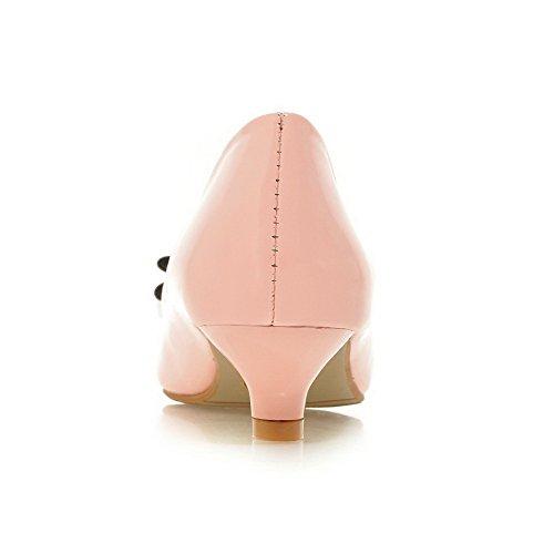 AllhqFashion Damen Gewebe Niedriger Absatz Spitz Zehe Rein Ziehen Auf Pumps Schuhe Pink