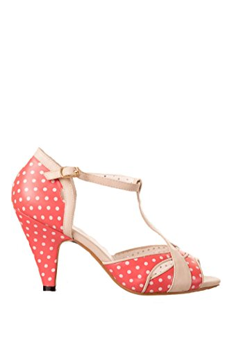Banned NORMA 50s POLKA DOTS Punkte T-Strap PEEP TOES Pumps Rockabilly -