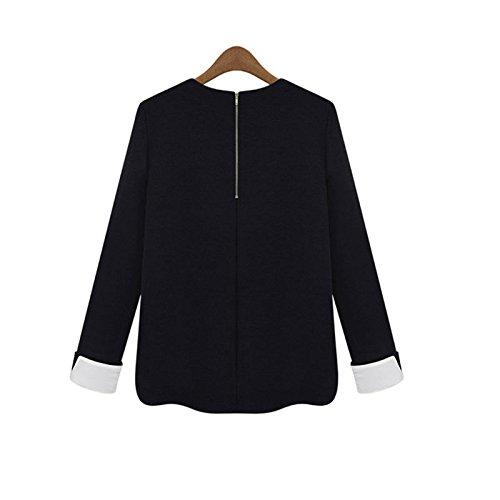 Hrph Mode Féminine en Mousseline de Soie Shirt en Maille Pull Tricots à Manches Longues en Vrac Jumper Outwear Comme la photo