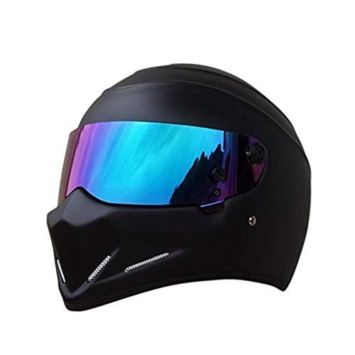MSF Caschi Casco moto Casco integrale Alien Visor Off Road Racing Casco integrale per uomo e donna Mezza casco Fresco volto Casco integrale moda (dimensioni : L.)