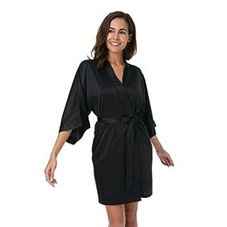SIORO Womens Dressing Gown-Silk Satin Ladies Bathrobe, Kimono Bridesmaid Robe for Wedding Party Short, Black, XL