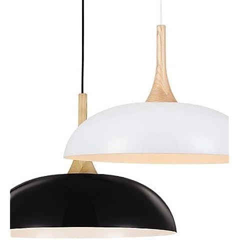 LYNDM-Mejor regalo de Navidad,artístico/lámpara colgante 1 luces/moderna simplicidad/Negro/Blanco/acabado en aluminio y madera , Droplight 220-240 v-blanco