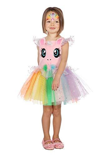 shoperama Einhorn Regenbogen Tutu-Kleid Mädchen-Kostüm Kinder-Kostüm Glitzer Tüll Kleinkind Karneval, Größe:104