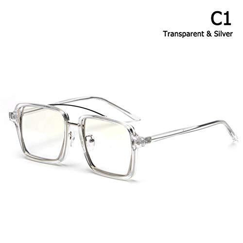 WAQWYQ Gläser Mode Coole einzigartige quadratische Art Plain Brille Metall Rim Eyewear Frame Brillengestell