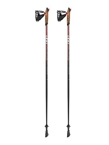 LEKI Response Nordic Walking Stock, Black/Anthracite-White-Neon Red, 110