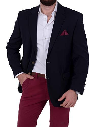 Unbekannt Herren Sakko Schurwolle/Polyester klassisch Reverskragen Blazer Zweiknopf Jackett Anzug Slim Fit bequem (30, Navy) -