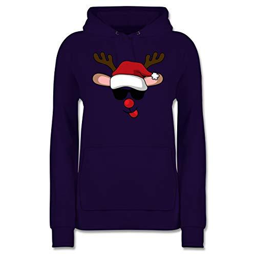 Weihnachten & Silvester - Cooles Rentier mit Sonnenbrille - M - Lila - JH001F - Damen Hoodie