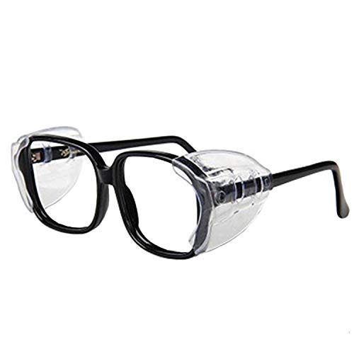 Auony Seitenschutz für Brillen, transparente Schilder zum Aufstecken auf der Seite, für die Sicherheit, geeignet für kleine bis mittelgroße Brillen, 2 Paar