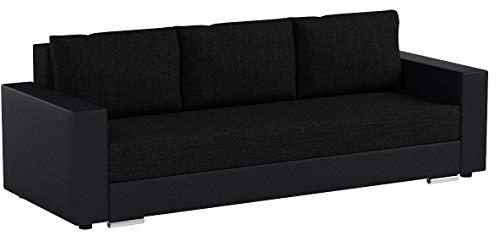 Schlafsofa Bird - Sofa mit Schlaffunktion und Bettkasten, Klappsofa, Schlafcouch mit Chromfüße, Couch, Couchgarnitur, Sofagarnitur (Schwarz + Schwarz (Dolaro 08 + Berlin 02))