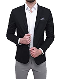 FB CLASS Giacca Uomo Elegante Slim Fit Blazer Cerimonia con Pochette da  Taschino 53552ca9e0a9