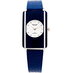Omax Women's Genuine Blue Leather Strap Silver Face with Diamantes Watch Analog Quartz Water Resistance