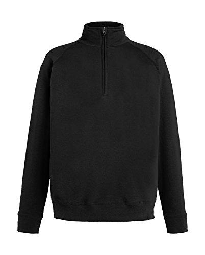 Fruit of the Loom Herren Sweatshirt Lightweight Zip Neck Sweat Black
