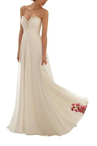 GEORGE BRIDE Schoene Stickerei Goettin Chiffon Abendkleid Weiß