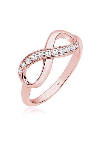 Elli Damen Schmuck Ring Motivring Infinity  Unendlichkeit Liebe Freundschaft Forever Liebesbeweis Silber 925 Rosé Vergoldet Zirkonia Gold Größen 52 54 56 58
