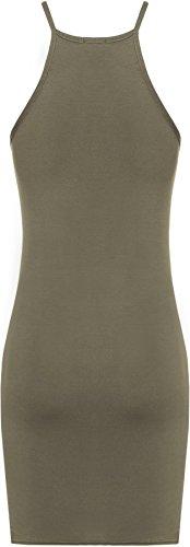 WEARALL Damen Ebene Hoch Hals Leibchen Strappy Bodycon Strecke Top Damen Mini Kleid - 5 Farben - Größe 36-42 Khaki