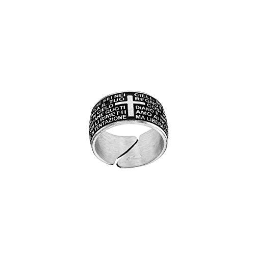 Padre Nostro - Ring Gebet Unser Vater auf Italienisch Silber 925 einstellbare Größe von 62 a 64