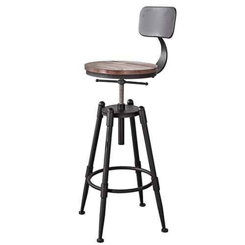 DYR Verstellbare Sitzhöhe (68-90 cm) Massivholz Barhocker aus Eisen Amerikanischer Retro Barstuhl Hochstuhl Kaffee Stuhl Lounge Chair (Farbe: Holzbrett, Größe: B) - Eisen Barhocker