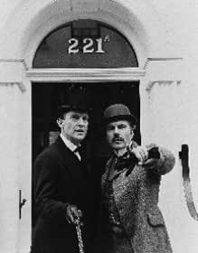 JEREMY BRETT AS SHERLOCK HOLMES, DAVID BURKE AS DR. JOHN WATSON FROM THE ADVENTURES OF SHERLOCK HOLMES #1 - Photo cinématographique en noir et blanc- STANDARD - 25x20cm