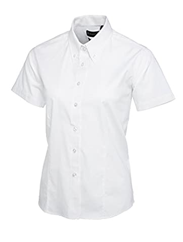 Ladies Pinpoint Oxford Short Sleeve Shirt White