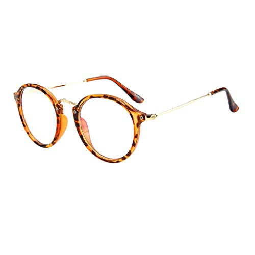 REALIKE Unisex Brille Elegant Flacher Spiegel Runder Rahmen Brillengestell Brille Leopardenmuster-Brillengestell Aus,Anti-Blaulichtbrille, Farbe Mehrfache Farbauswahl -