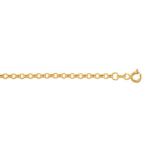 14k Yellow Gold 2mm wide Diamond Cut Oval Rolo Chain 18