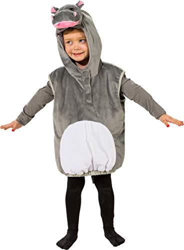 4 grau-weiß Kinder Mädchen Junge Nilpferd Flusspferd Weste-Kostüm Gr.104 ()