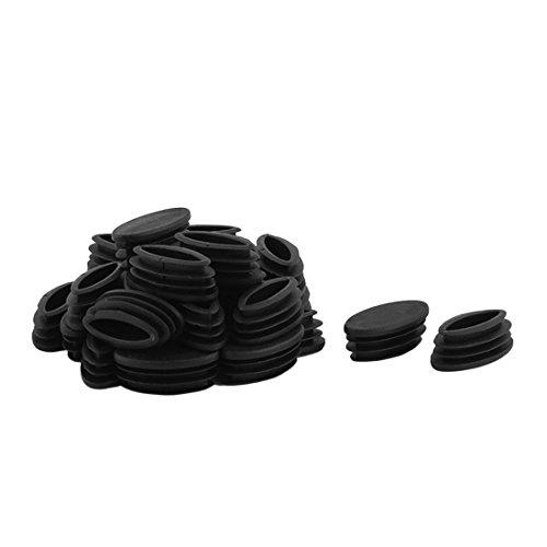 Sourcingmap® Pieds Table en Plastique Conception Ovale Tuyau Tube d'insertion Embout Noir 20 mm x 39 mm 30Pcs